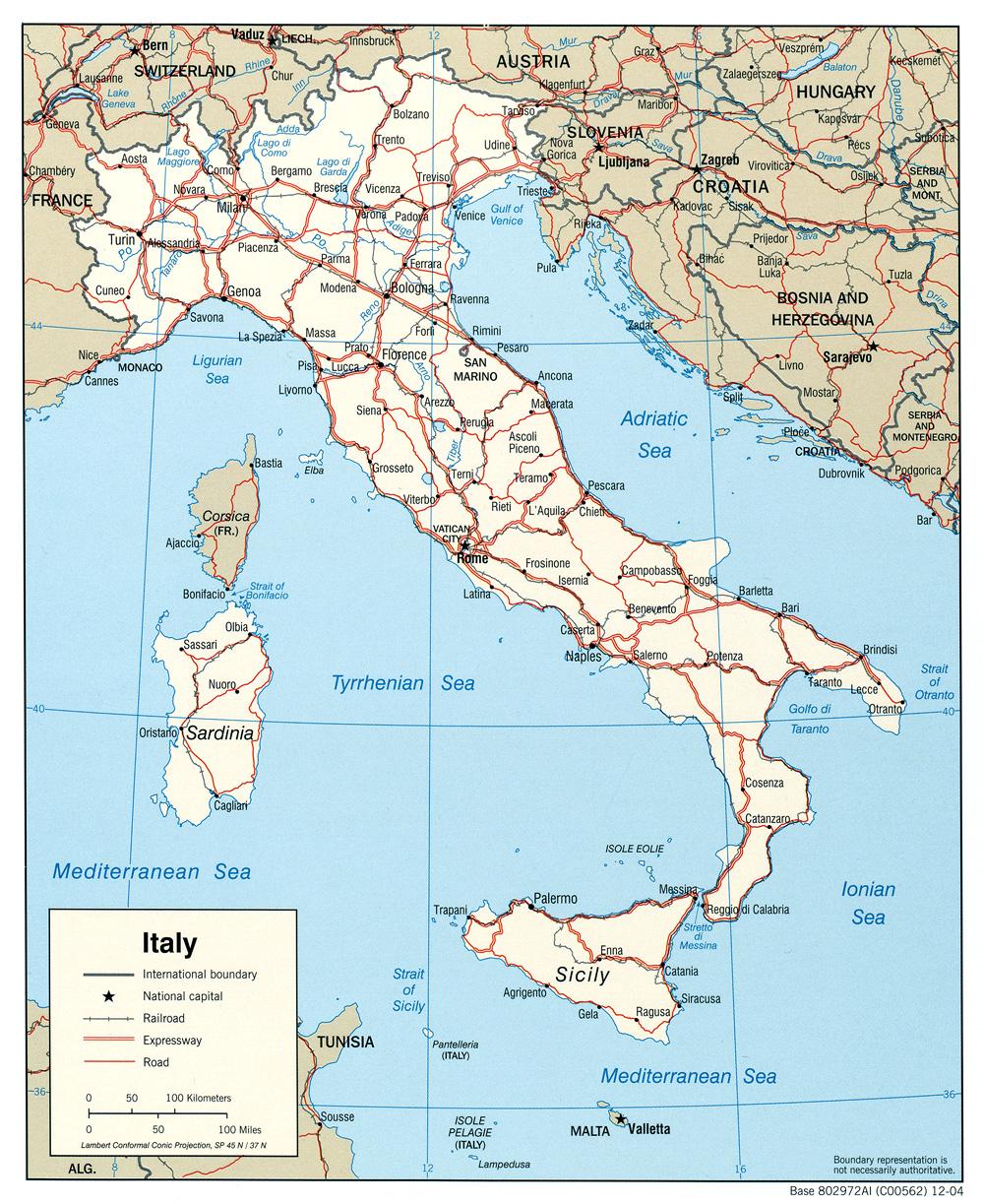 Карта италии подробная карта италии