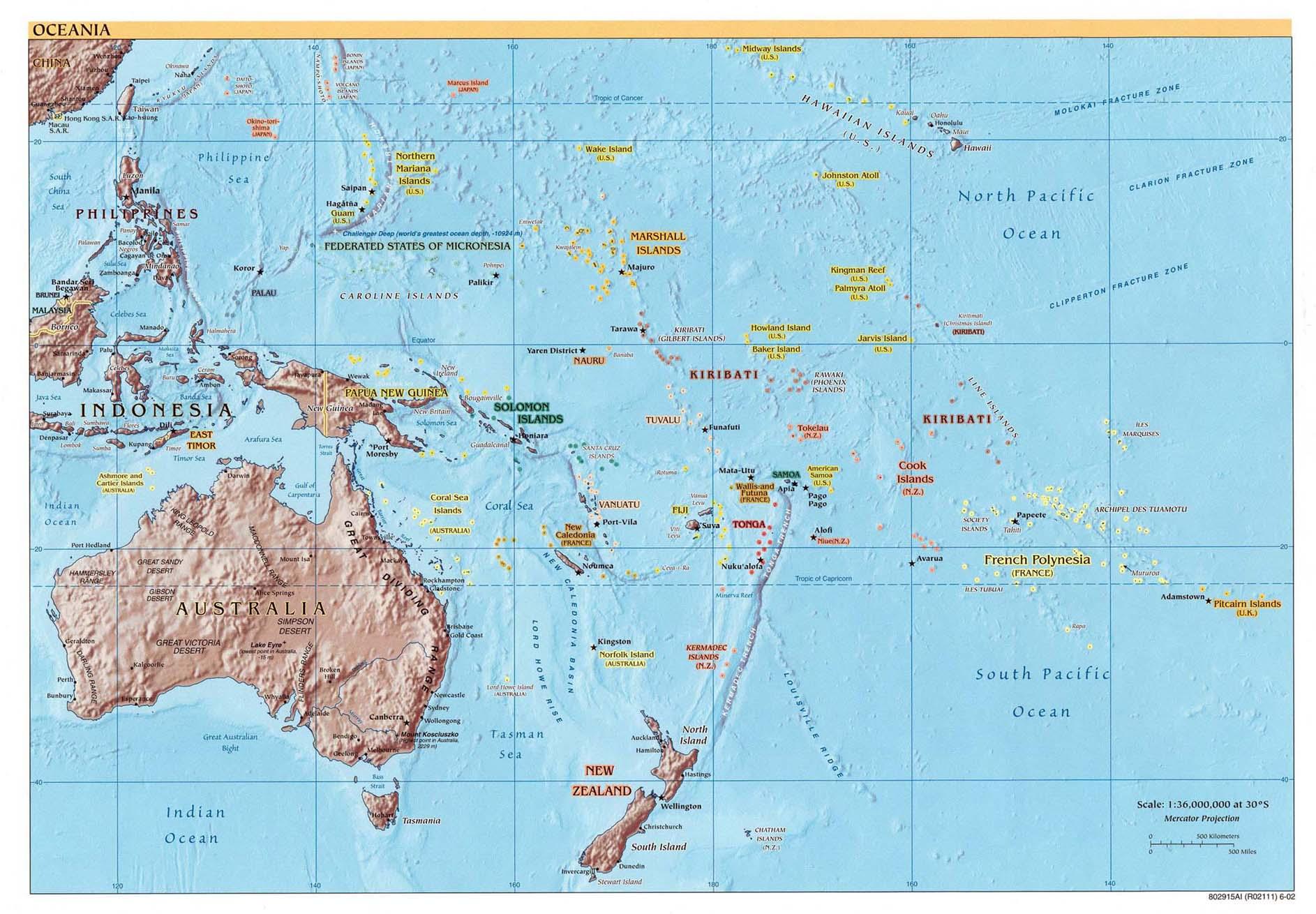 Географическая карта океании