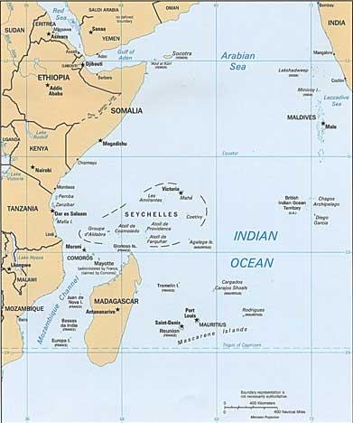 Карта запада индийского океана