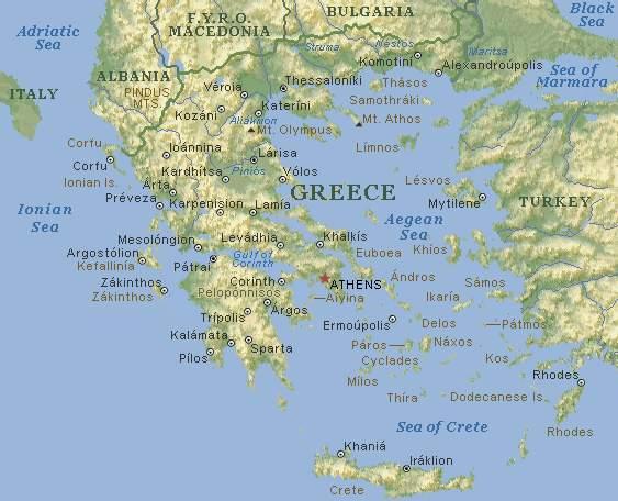 Карта греции физическая карта греции
