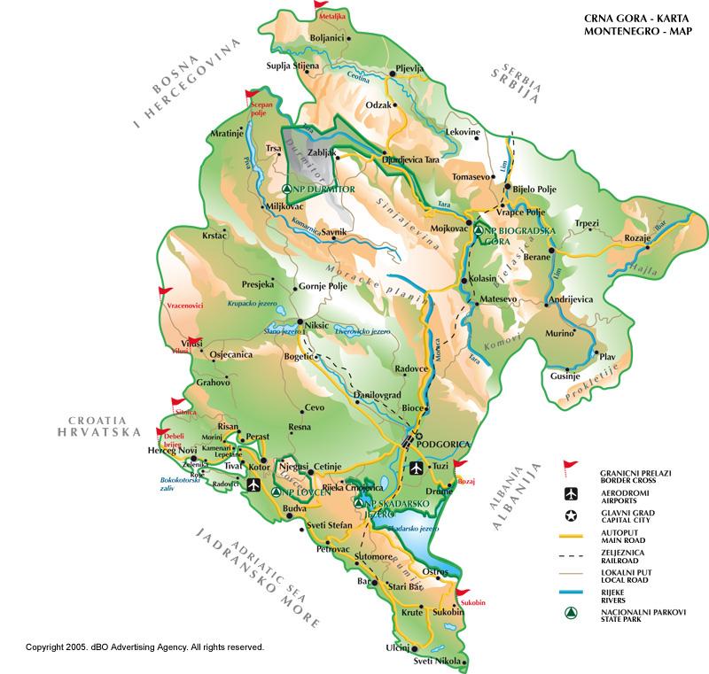 Карта черногории карта черногории