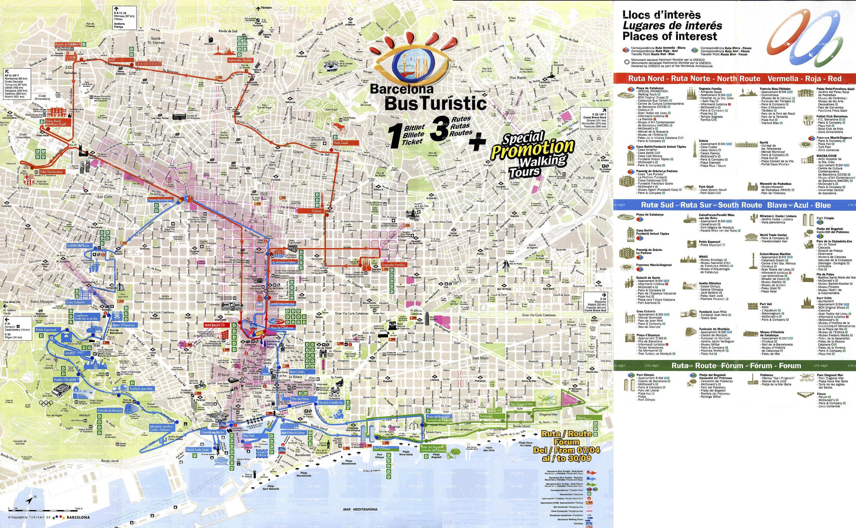 2. 0. Карта Барселоны с подробными схемами туристических маршрутов.