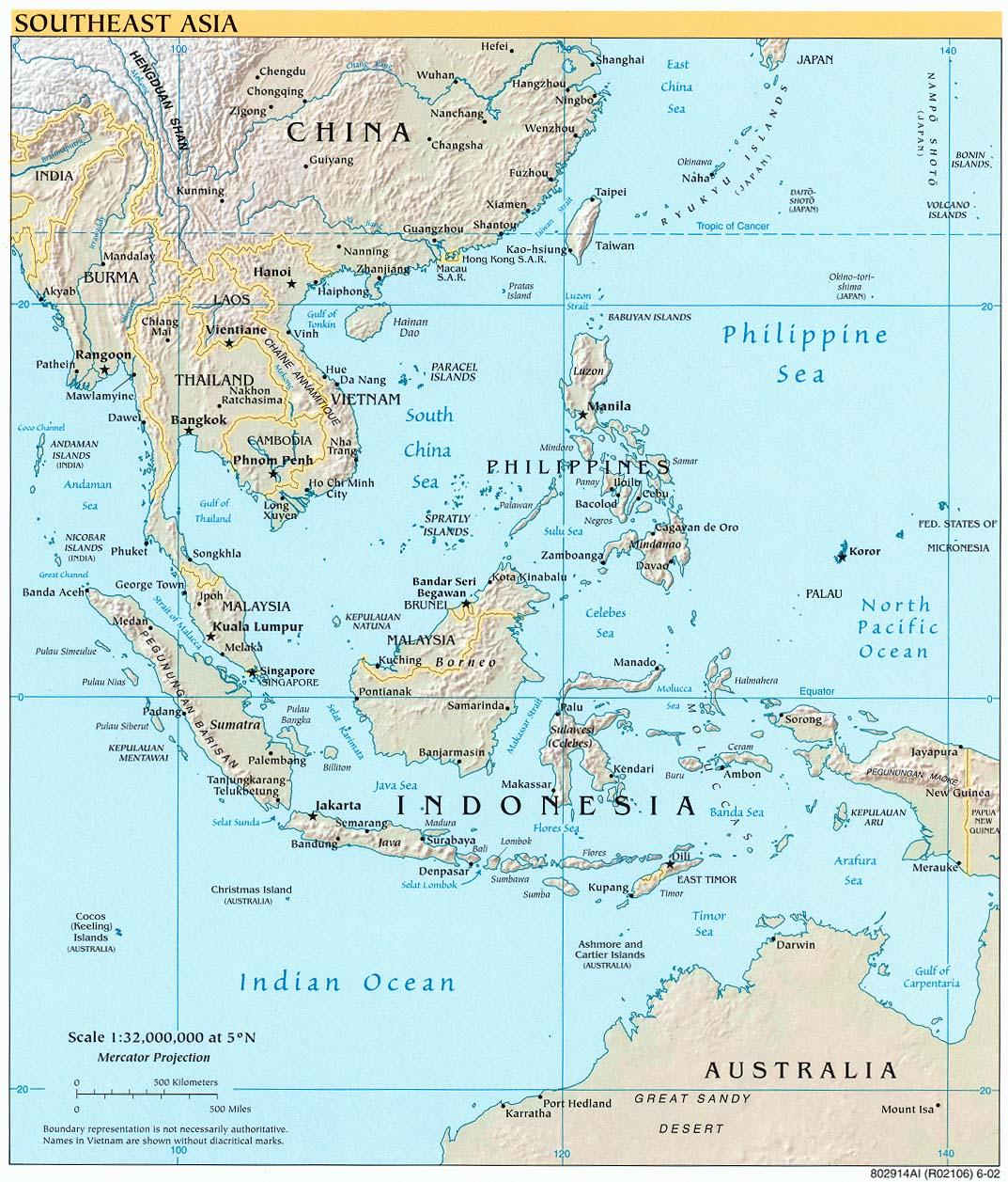 Карта юго восточной азии