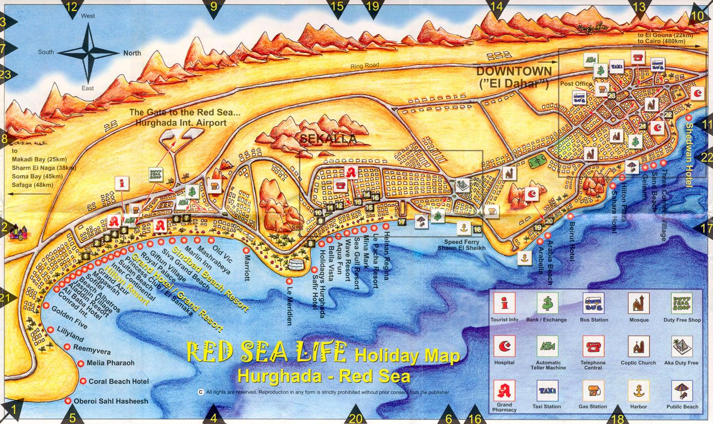 Карты Египта, Погода в Египте Карта Хургады со всеми отелями и достопримечательностями!
