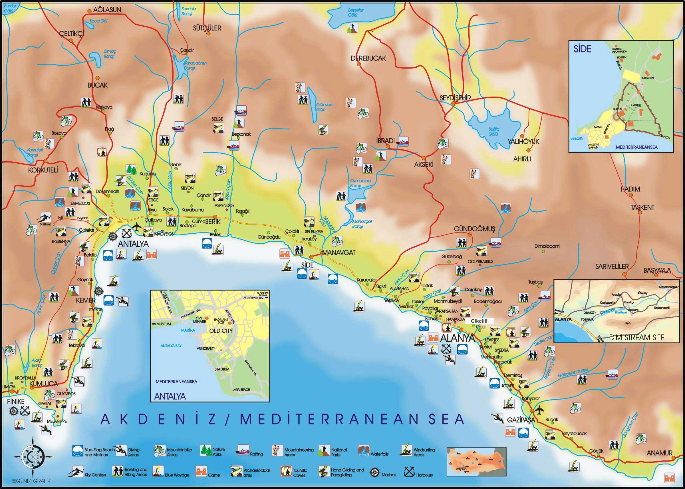 Карта достопримечательностей турции